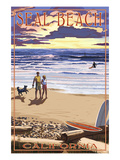 Seal Beach, California - Sunset Beach Scene Prints by Lantern Press