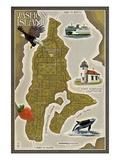 Vashon Island, Washington - Map Posters by  Lantern Press