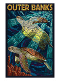 Outer Banks, North Carolina - Sea Turtle Mosaic Posters by  Lantern Press