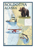 Soldotna, Alaska - Nautical Chart Posters by  Lantern Press