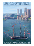 USS Constitution and Boston Skyline Prints by  Lantern Press