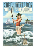 Cape Hatteras, North Carolina - Surf Fishing Pinup Girl Posters by  Lantern Press