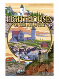 Lighthouses of Maine Montage Prints by  Lantern Press