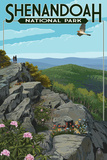 Shenandoah National Park, Virginia - Hikers and Hawk Posters by  Lantern Press