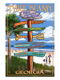 Tybee Island, Georgia - Destination Signs Prints by  Lantern Press