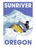 Snowmobile Scene - Sunriver, Oregon Reprodukcje autor Lantern Press