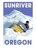 Lantern Press - Snowmobile Scene - Sunriver, Oregon - Reprodüksiyon