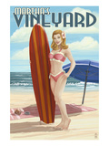 Martha's Vineyard, Massachusetts - Pinup Girl Surfer Prints by  Lantern Press