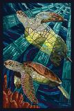 Sea Turtle - Paper Mosaic Poster af Lantern Press