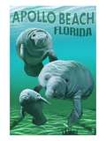 Apollo Beach, Florida - Manatees Poster par Lantern Press 