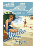 Beach Scene - Fort Myers Beach, Florida Print by  Lantern Press