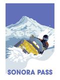 Lantern Press - Snowmobile Scene - Sonora Pass, California - Reprodüksiyon