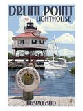Drum Pt. Light in Summer - Maryland Print by  Lantern Press
