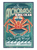 Anchorage, Alaska - King Crab Prints by  Lantern Press