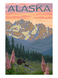 Alaska - Bear and Cubs Spring Flowers Plakater af Lantern Press