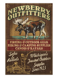 Newberry, Michigan - Moose Outfitters Art by  Lantern Press