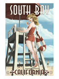 South Bay, California - Lifeguard Pinup Art by  Lantern Press