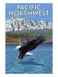 Pacific Northwest - Fishing Eagle Art by  Lantern Press