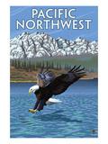 Pacific Northwest - Fishing Eagle アート : ランターン・プレス
