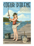 Coeur D'Alene, Idaho - Fishing Pinup Girl Poster by  Lantern Press