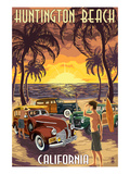 Huntington Beach, California - Woodies and Sunset Prints by  Lantern Press