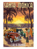 Santa Monica, California - Woodies and Sunset Print by Lantern Press 