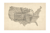 United States Old Sheet Music Map Premium Giclee Print by Michael Tompsett