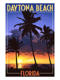 Daytona Beach, Florida - Palms and Sunset Prints by  Lantern Press