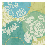 Floral Decal Turquoise II Print by Veronique Charron