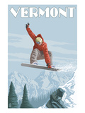 Vermont - Snowboarder Jumping Art by  Lantern Press