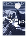 Wolves and Full Moon - Death Valley National Park Art by Lantern Press