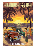 Hermosa Beach, California - Woodies and Sunset Poster by  Lantern Press