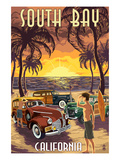 South Bay, California - Woodies and Sunset Posters by  Lantern Press