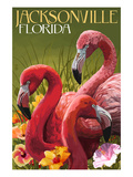 Jacksonville, Florida - Flamingos Posters by  Lantern Press