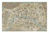 Monuments of Paris Map Premium Giclée-tryk af Hugo Wild