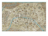 Monuments of Paris Map Premium Giclee Print by Hugo Wild