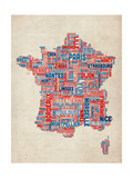 Typography Text Map of France Map Prints by Michael Tompsett