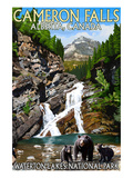 Waterton Lakes National Park, Canada - Cameron Falls and Bear Family Art by  Lantern Press