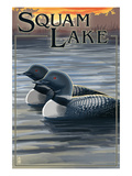 Squam Lake, New Hampshire - Loon Scene Print by  Lantern Press
