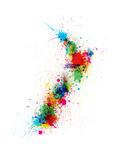 Väriroiskeinen Uuden-Seelannin kartta Ensiluokkainen giclee-vedos tekijänä Michael Tompsett