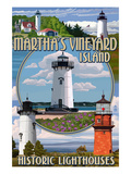 Martha's Vineyard - Lighthouses Montage Prints by  Lantern Press