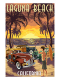 Laguna Beach, California - Woodies and Sunset Print by  Lantern Press