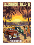 Redondo Beach, California - Woodies and Sunset Poster by  Lantern Press