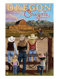 Oregon - Oregon Cowgirls Poster von  Lantern Press