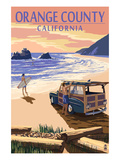 Orange County, California - Woody on Beach Print by  Lantern Press