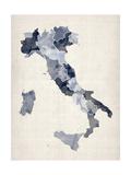 Watercolor Karte von Italien Giclée-Premiumdruck von Michael Tompsett