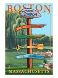 Boston, Massachusetts - Neighborhoods Sign Destinations Prints by  Lantern Press