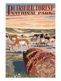 Desert and Antelope - Petrified Forest National Park Posters par Lantern Press