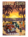 Orange County, California - Woodies and Sunset Poster by Lantern Press