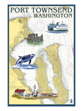 Port Townsend, Washington - Port Townsend Nautical Chart Art by Lantern Press 